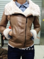 2013 winter berber fleece velvet motorcycle large turn-down collar short design leather jacket women Free shipping