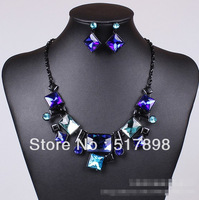 4 colors fashion long black chunky chain acrylic strand necklace earrings set