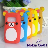 free shipping,silicone cellphone cases for Nokia C6-01,original soft back cover for C6-01,3D cartoon bear design, defender skin