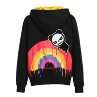 Autumn and winter it hi panda with a hood fleece outerwear sweatshirt