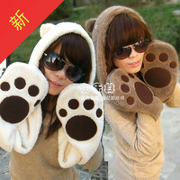 Christmas gift Free shipping Cartoon  plush hat gloves scarf one piece winter ear hats animal hat