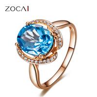 ZOCAI Genuine 3.0 Ct Real Topaz 0.16 Ct real diamond18K rose gold prong set engagement ring wedding band W02757