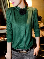 Fast/Free Shipping 2013 New Fashion Winter Clothing Green Flower Faux Leather Velvet Blouse Women Blouses Female AA6979