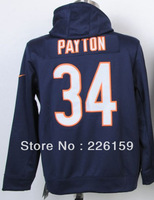 Wholesale Retail 2013 Fahshion Chicago #34 Walter Payton Blue Men's Football Hoodies sweatshirts Embroidered Size M-XXXL