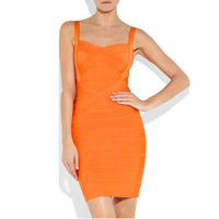 (DEIVE TEGER) Free Shipping Orange HL Women's Bandage Dress Lady Mini Evening Dress Summer Breathable Girl Party Evening Dress