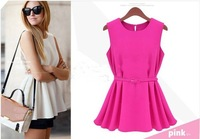 With Belt Chiffon Sleeveless Blouse Women O-Neck Casual Shirt Yellow Black White S-XL WD1311002