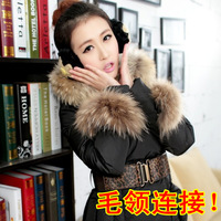 2013 Pocket fur collar down coat super large raccoon fur down coat large fur collar hat fur collar pocket wool  free shipping