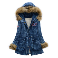 2013 female drawstring badge slim denim wadded jacket large fur collar thickening cotton overcoat denim cotton-padded jacket