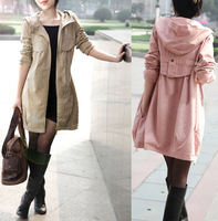 2013 spring and autumn women's slim medium-long trench all-match with a hood women's overcoat outerwear