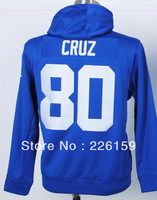 Wholesale Retail 2013 Fahshion New York #80 Victor Cruz Blue Men's Football Hoodies sweatshirts Embroidered Size M-XXXL