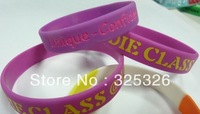 Free Shipping custom logo engrave/debossed purple solid silicone wristband bangles with yellow logo personlized rubber bracelet