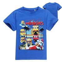 new 2014 cartoon anime despicable me minions girls clothes minion costume children's clothing children t shirts kids boys shirt