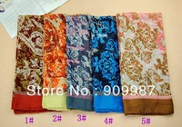 wholesale ladies design printe cotton voile muslim flower hijab long popular shawls/scarf 10pcs/lot 180*90cm