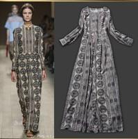 Free Shipping ! 2014 Autumn Winter New European Fashion Runway Vintage Noble Elegant Long Sleeve Apricot Long Dresses Print