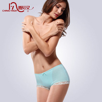 100% cotton abdomen drawing butt-lifting solid color cotton 100% women's boxer panties sexy lace decoration