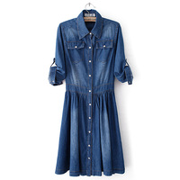 Spring and autumn women's ol 100% cotton denim long-sleeve turn-down collar double pocket one-piece dress plus size casual full