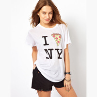 Free shipping women Newyork pizza print white o-neck short-sleeve T shirt 100%cotton lady t shirt