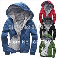 New Men's Wear Plush Thick Warm Hoodie Overcoat Winter Coat Fleece Men's Cotton Padded Jacket Men Jackets 6colors Free shipping