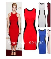1304 Free Shipping Plus Size Top Grade Excellent Quality European Style Round neck Sleeveless Slim Pencil Dress Beige/Blue/Red