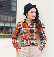 2013 High Quality Autumn Shirt Slim Plaid Decoration Women Casual Long-Sleeve Shirt Clothing Woman