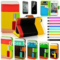ID Card Wallet Leather Purse Stand Case Cover For iPhone 4 4G 4S Colorful Leather case 5 Colors drop ship