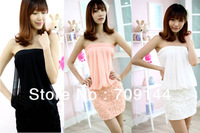 2014 New Sexy Gauze And Chiffon Floral Strapless Mini Dress For Women/Black Pink White