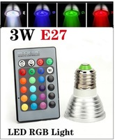 16 Color Changing E27 3W RGB LED Light Bulb Lamp AC85V~265V + IR Remote Control free shipping