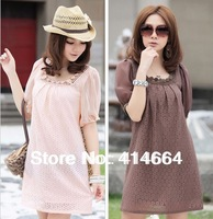 New 2014 summer fashion short-sleeve maternity clothing one-piece dress plus size top maternity dress lace skirt