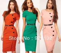 1321 Free Shipping Plus Size Top Grade Excellent Quality European Style Round Neck Buttons Embellished Slim Pencil Dress
