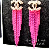 Fashion elegant earrings fashion bright color popular rhinestone ultra long paragraph tassel drop earring