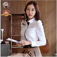 2014 new color block decoration women's shirt OL outfit slim Women long-sleeve shirt