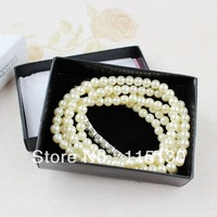 Elegant White Pearl Rhinestone Bracelets Set For Women Luxurious Stretchy Multilayered Pearl Beads Bracelets With Jewelry Box