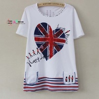 2013 New CICCARELLO cartoon casual loose big yards with diamond Women's T-Shirt