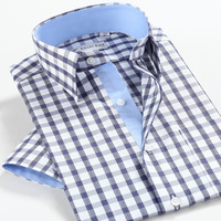 New Blue plaid smartfive 100% cotton easy care commercial casual shirt slim male short-sleeve shirt  free shipping