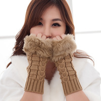 Fashion Winter Arm Warmer Fingerless Gloves, Knitted Fur Trim Gloves Long Mitten 10pairs/lot Free Shipping