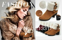 Free shipping 2013 winter thick high-heeled side zipper genuine leather wool female fashion boots