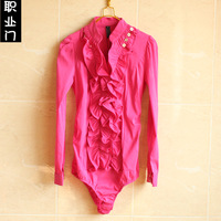 2013 Autumn work wear one piece shirt women's white shirt ol ruffle stand collar long-sleeve S, M, L, XL, free shipping
