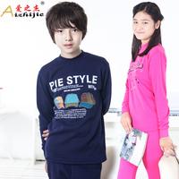 Brand 2013 Winter new Children thermal underwear set plus velvet thickening boys clothing girls set pajamas set  homewear