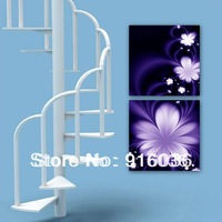 2 Panels Free shipping Huge Decorative Modern Combination Abstract Picture Print Purple Flower Paint Painting Art Canvas pt679