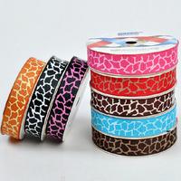 "Oct sale ! Free Shipping animal skin 3/8""(9mm) 100yard/lot Polyester fibber ribbon DIY Grosgrain ribbon GRP-782"
