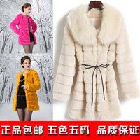 2013 medium-long  rabbit fur overcoat  large fur collar long-sleeve female winter fur coat  deluxe edition  freeshing