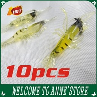 2013 New Fishy Smell !! 4CM Fishy Smell Shrimp Fishing Lure Soft lure Shrimps10pcs/Free Shipping
