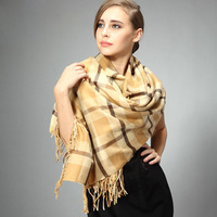 Winter scarf cape dual women's fashion tassel plaid pattern faux rectangle scarf