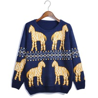 2013 female sweater pattern o-neck loose sweater pullover free shipping