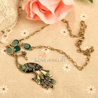 LY4# Vintage Ethnic Style Green Glaze Bronze Peacock Pendant Short Necklace