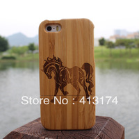 2013 New Horse bamboo wood case cover for iPhone 5 (dark bamboo) + 1piece film screen protector = 2pieces/lot for iphone5