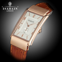 Fashion stainless steel quartz isabain male genuine leather watch mirror gold rose