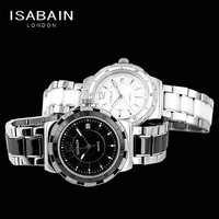 Isabain ib2538m fashion stainless steel quartz lovers watches stone ceramic diamond