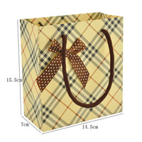 Free shipping (10pcs/lot)beautiful gift bags with bow gluing bags medes plaid gift bag garment bags size 14.5*7*15.5cm