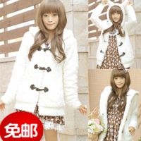 2013 ear bear plush horn button outerwear thickening with a hood cardigan sweatshirt female